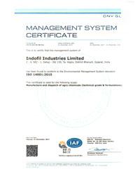 ISO 14001:2015 Certificate Indofil Dahej