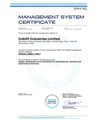 OHSAS 18001:2007 Certificate Indofil Thane