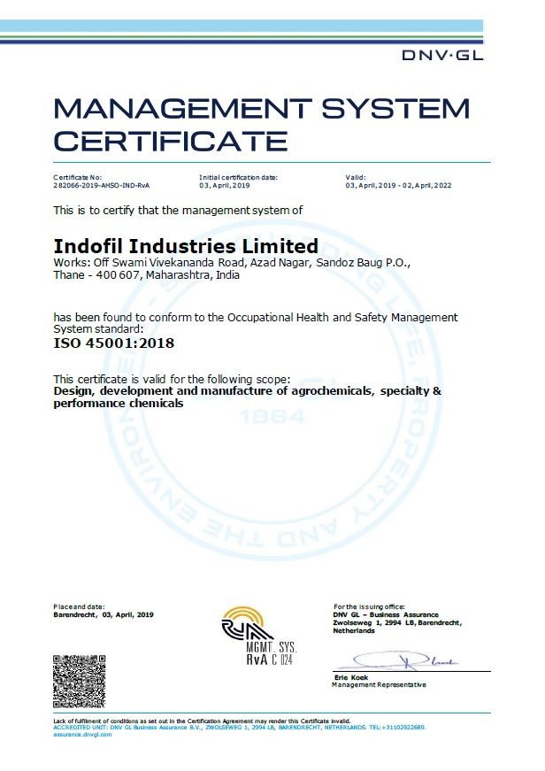ISO 45001:2018 Certificate Indofil Thane